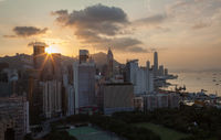 Golden sunset in Hong Kong