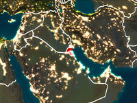 Map of Kuwait at night
