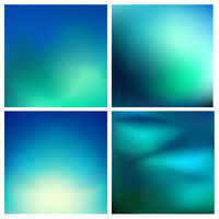 Abstract vector turquoise green blurred background set 4 colors set. Square blurred backgrounds set - sky clouds sea ocean beach colors