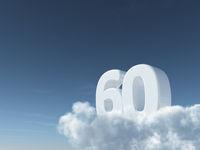 die zahl sechzig auf wolken - 3d rendering