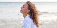 Woman enjoy sea scent