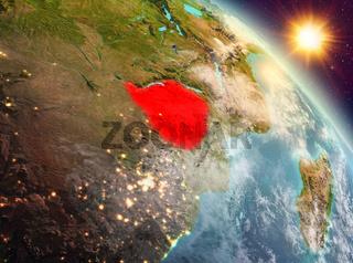 Zimbabwe in sunrise from orbit