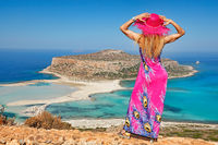 A woman at Balos of Creta, Greece
