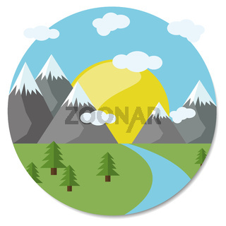Berge mit Fluss