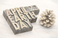 Earth Day word abstract in wood type