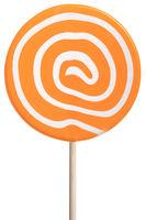 Round lollipop with orange and white swirls