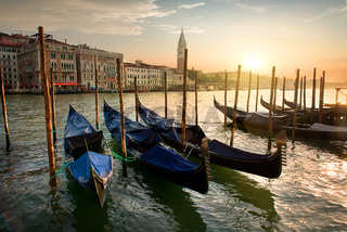 Gondolas and sunset