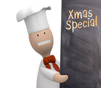 Chef with chalkboard, Christmas special