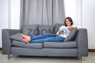 Young woman working with tablet