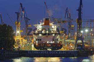 Containerschiff im Schwimmdock von Blohm und Voss im Hamburger Hafen, Hamburg, Deutschland, Europa