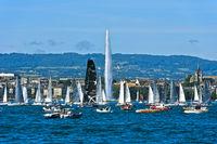 Segelboote im Genfer Seebecken Rade, Genf, Schweiz