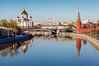 View on Kremlin and Cathedral of Jesus Christ Saviour, Moscow, Russia