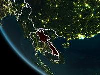 Satellite view of Laos at night