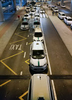 Taxi cars waiting arrival passengers in the Alicante airport. Costa Blanca. Spain