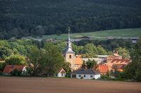 Blick auf die Ortschaft Meisdorf im Harz