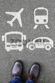 Bahn Zug Auto Bus Flugzeug Mann Mensch Wahl Auswahl Mobilität Reise reisen Verkehr