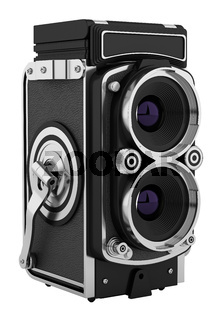 vintage film photo camera isolated on white background