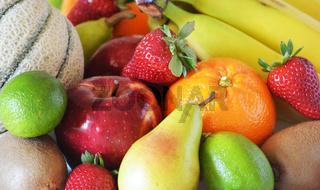Mixed fruits group close up