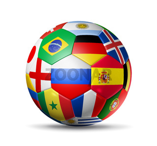 Russia 2018. Football soccer ball with team national flags on white background