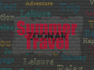 Vacation concept: Summer Travel on wall background