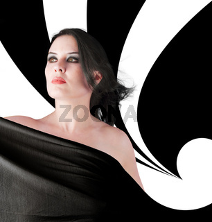 Glamour women with gorgeous black background