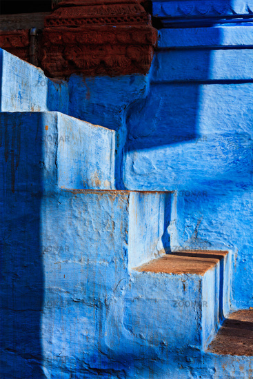 Stairs of blue painted house in Jodhpur, also known as