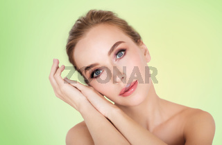 beautiful young woman face and hands