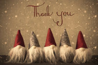 Gnomes, Snowflakes, Calligraphy Thank You