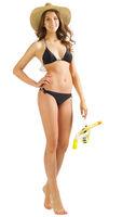 Young girl in black bikini isolated