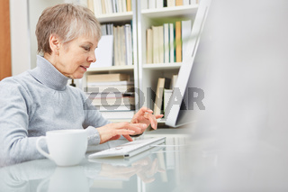 Seniorin arbeitet am Computer