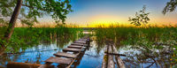 Sunset over the river. Panorama