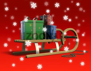 Schlitten mit Geschenken und Schneeflocken, schräg hinten