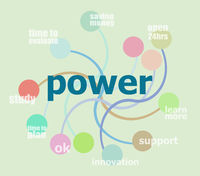 Text Power. Business concept . Infographic template, integrated circles