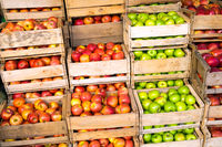 Frische Äpfel in Holzkisten auf einem Markt
