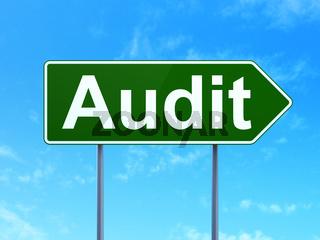 Finance concept: Audit on road sign background