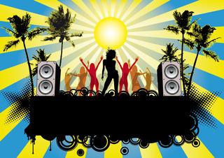 Partyflyer Beachparty Ibiza Blue Sky