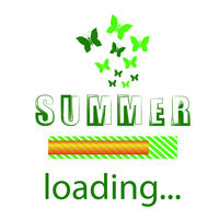 Summer Loading. Seasonal Inscription Template