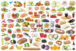 Sammlung Collage Essen gesunde Ernährung Obst und Gemüse Früchte Lebensmittel Freisteller