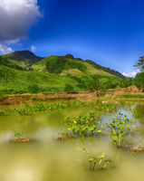 Beautiful landscape, pond on the foreground. Laos.