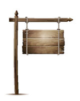 Wooden board sign hanging on a rope