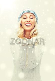 woman in winter heat showing empty palms