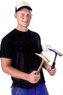Bauarbeiter mit Hammer 705v