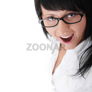 Photo of young happy woman screaming
