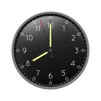 a clock shows 8 o'clock