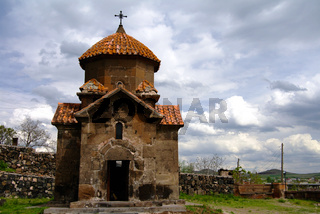 Exterior view to Church of Holy Mother of God aka Surb Astvatsatsin or Karmravor church, Ashtarak, Aragatsotn Province, Armenia
