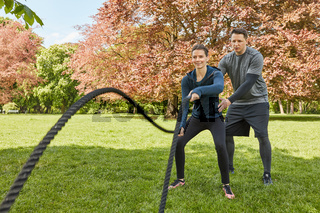 Battle Rope Fitnesstraining mit Personal Trainer