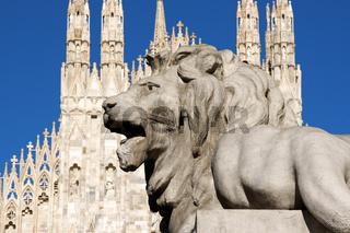 Stone lion in Piazza Duomo, Milan