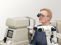 Woman visits ophthalmologist