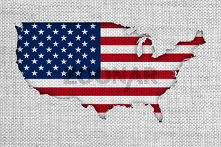 Karte und Fahne der USA auf altem Leinen - Map and flag of the USA on old linen