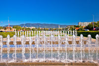 Fountains and cityscape in capital city of Zagreb